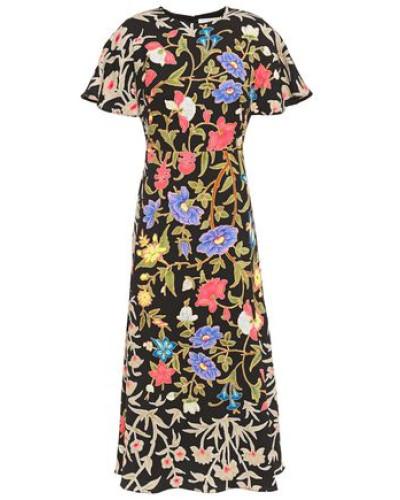 Floral-print Cloqué Midi Dress Black