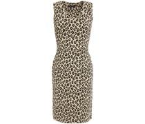 Minikleid aus Jacquard-strick mit Leopardenprint