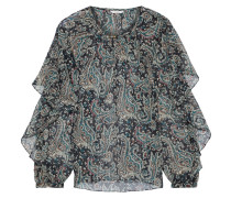 Kriston Ruffled Printed Metallic Gauze Blouse