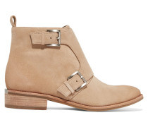 Adams Monk Buckled Suede Ankle Boots Sand