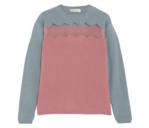 Tulle-paneled wool and cashmere-blend sweater