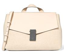 Bead-embellished Leather And Jersey Shoulder Bag Creme