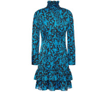 Tiered Ruffle-trimmed Printed Satin Mini Dress