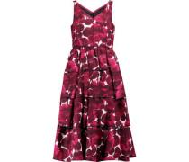 Frayed printed silk midi dress