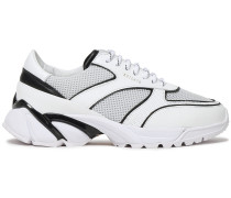 Leather And Mesh Sneakers
