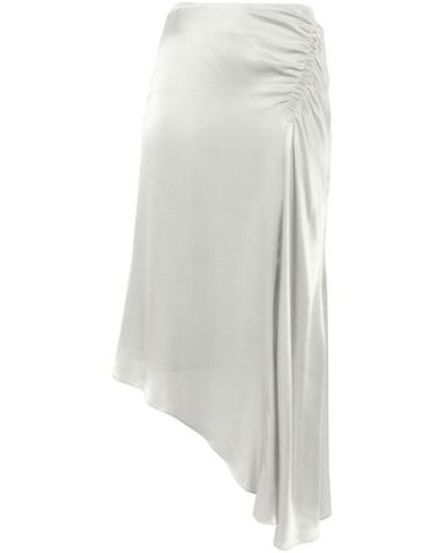 Woman J.k. Asymmetric Gathered Satin Midi Skirt Silver