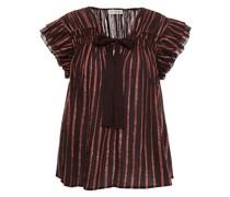 Bria Ruffled Metallic Striped Cotton And Lurex-blend Top