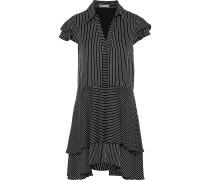 Moore Layered Striped Crepe De Chine Mini Dress
