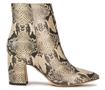 Hilty Snake-effect Leather Ankle Boots