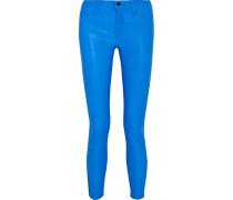 Neon Leather Skinny Pants Kobaltblau