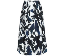 Printed cady midi skirt
