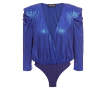 Wrap-effect Metallic Ribbed Jersey Bodysuit