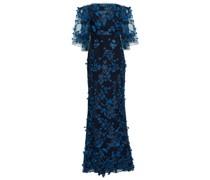 Off-the-shoulder Floral-appliquéd Embroidered Tulle Gown