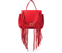 Abela Suede Fringed Leather Tote Rot