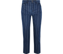 The Vintage Cropped Striped High-rise Slim-leg Jeans