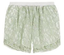 Guipure Lace And Gingham Cotton Shorts Mint
