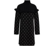 Minikleid aus Jacquard-strick mit Stehkragen und Rüschenbesatz