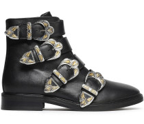 Woman Jackpot Buckled Leather Ankle Boots Black