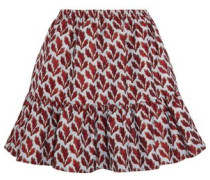 Ruffle-trimmed jacquard mini skirt