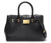 Snake Effect-trimmed Textured-leather Shoulder Bag Black Size --