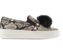 Faux fur-trimmed snake-effect leather slip-on sneakers