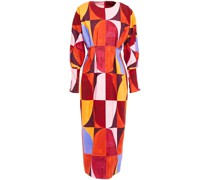 Printed Cotton-blend Twill Midi Dress