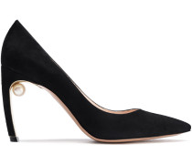 Woman Mira 90 Faux Pearl-embellished Suede Pumps Black