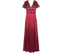 Gazelle Guipure Lace And Satin Gown Burgunder