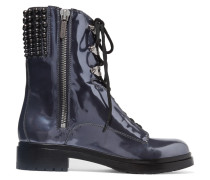 Luxy Embellished Patent-leather Ankle Boots Stahlgrau