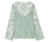 Master open knit-trimmed corded lace blouse