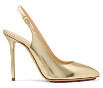 Monroe Metallic Leather Slingback Pumps Gold