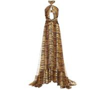 Cutout Tiger-print Silk-chiffon Halterneck Gown