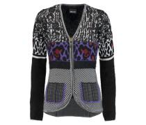 Angora-paneled Jacquard-knit Cardigan Schwarz