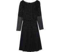 Lace And Velvet-trimmed Silk Dress Mitternachtsblau