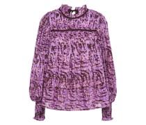 Geraffte, Bedruckte Bluse aus Baumwollgaze
