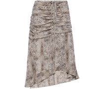 Lilah Ruched Snake-print Crepe Skirt