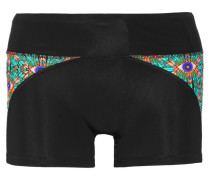 Printed Stretch-jersey Shorts Schwarz