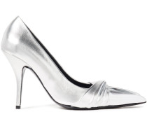 Woman Twisted Metallic Leather Pumps Silver