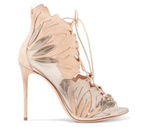 Mesh-paneled metallic leather and suede pumps