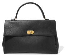 Textured-leather Tote Schwarz