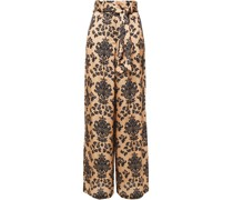 Iona Belted Printed Hammered-satin Wide-leg Pants