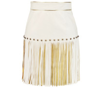 Fringed Leather Mini Skirt Wollweiß