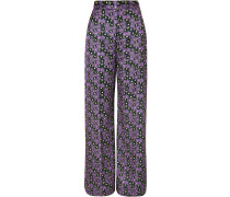 Woman Floral-print Satin-twill Wide-leg Pants Purple