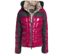 Panelled quilted shell down coat