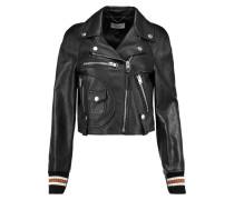 Varsity Moto Leather Biker Jacket Schwarz