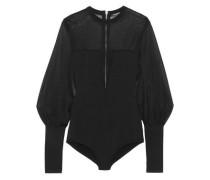 Paneled stretch-knit bodysuit