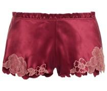 Pyjama-shorts aus Satin aus Stretch-seide mit Spitzenbesatz