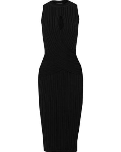 Cutout Ribbed-knit Dress Black