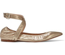 Love Latch metallic leather point-toe flats