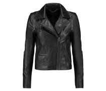 Textured-leather Biker Jacket Schwarz